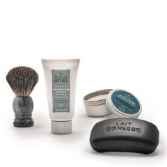 Pack homme : crème après-rasage tube, savon homme, savon à barbe et blaireau